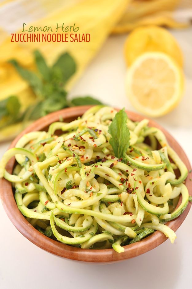 Best Dinner Salad Recipes - Lemon Herb Zucchini Noodle Salad - Easy Salads to Make for Quick and Healthy Dinners - Healthy Chicken, Egg, Vegetarian, Steak and Shrimp Salad Ideas - Summer Side Dishes, Hearty Filling Meals, and Low Carb Options http://diyjoy.com/dinner-salad-recipes