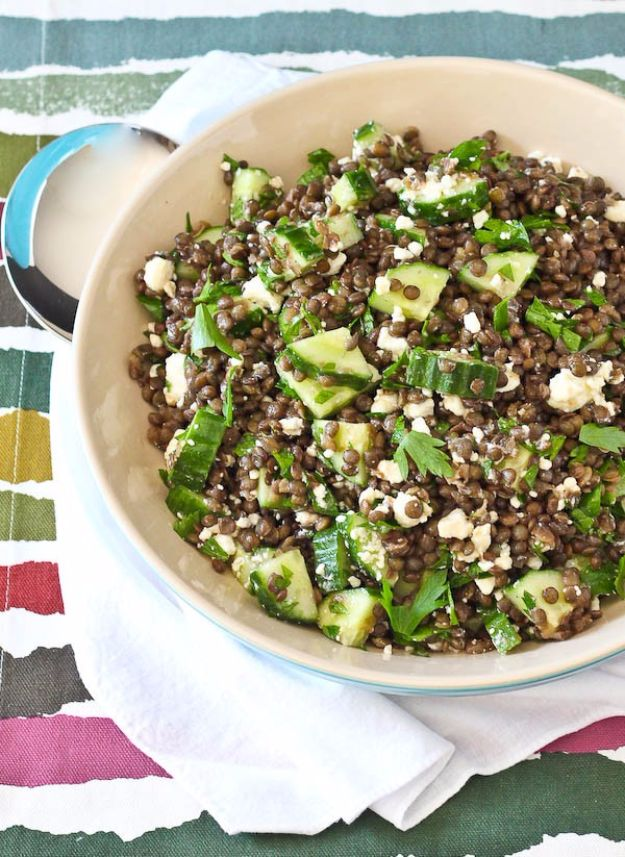Best Dinner Salad Recipes - Lentil Salad With Feta, Lemon And Parsley - Easy Salads to Make for Quick and Healthy Dinners - Healthy Chicken, Egg, Vegetarian, Steak and Shrimp Salad Ideas - Summer Side Dishes, Hearty Filling Meals, and Low Carb Options #saladrecipes #dinnerideas #salads #healthyrecipes