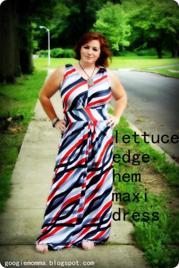 DIY Dresses to Sew for Summer - Lettuce Edge Hem Summer Dress - Best Free Patterns For Dress Ideas - Easy and Cheap Clothes to Make for Women and Teens - Step by Step Sewing Projects - Short, Summer, Winter, Fall, Inexpensive DIY Fashion