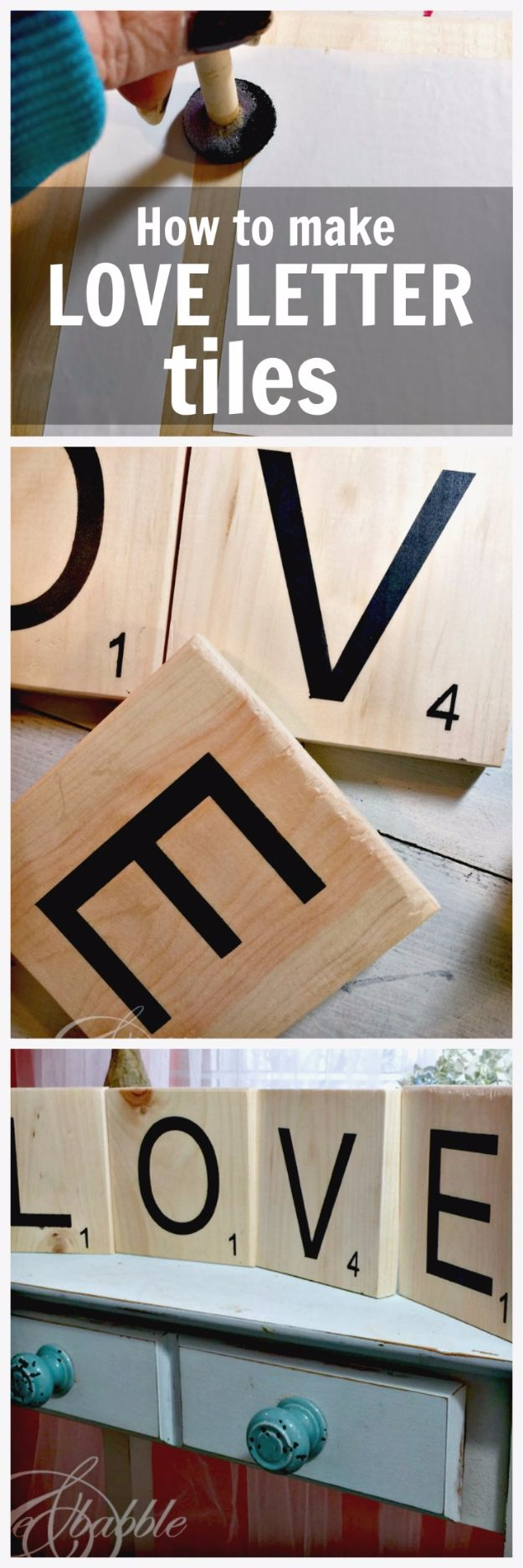 DIY Wall Letters and Word Signs - Love Letter Tiles - Initials Wall Art for Creative Home Decor Ideas - Cool Architectural Letter Projects and Wall Art Tutorials for Living Room Decor, Bedroom Ideas. Girl or Boy Nursery. Paint, Glitter, String Art, Easy Cardboard and Rustic Wooden Ideas - DIY Projects and Crafts by DIY JOY http://diyjoy.com/diy-letter-word-signs