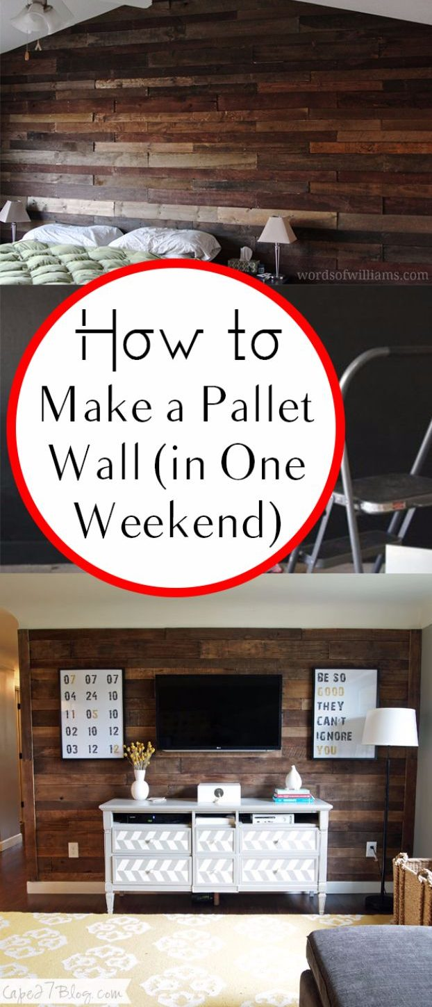 DIY Home Improvement On A Budget - Make A Pallet Wall - Easy and Cheap Do It Yourself Tutorials for Updating and Renovating Your House - Home Decor Tips and Tricks, Remodeling and Decorating Hacks - DIY Projects and Crafts by DIY JOY