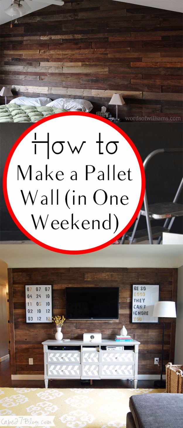 DIY Home Improvement On A Budget - Make A Pallet Wall - Easy and Cheap Do It Yourself Tutorials for Updating and Renovating Your House - Home Decor Tips and Tricks, Remodeling and Decorating Hacks - DIY Projects and Crafts by DIY JOY #diy #homeimprovement #diyhome #diyideas #homeimprovementideas http://diyjoy.com/diy-home-improvement-ideas-budget