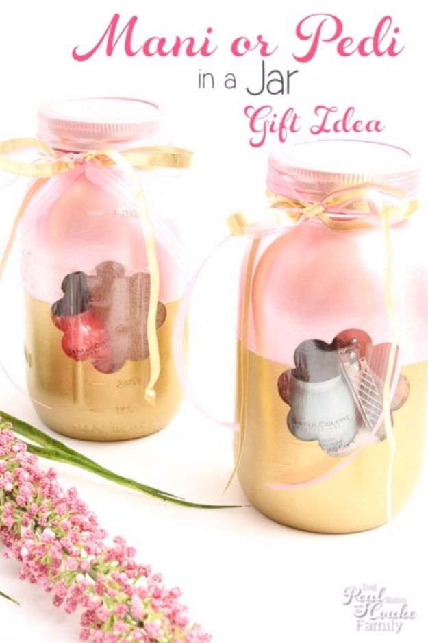DIY Mothers Day Gift Ideas - Manicure or Pedicure in a Jar a Mother's Day Gift Idea - Homemade Gifts for Moms - Crafts and Do It Yourself Home Decor, Accessories and Fashion To Make For Mom - Mothers Love Handmade Presents on Mother's Day - DIY Projects and Crafts by DIY JOY http://diyjoy.com/diy-mothers-day-gifts