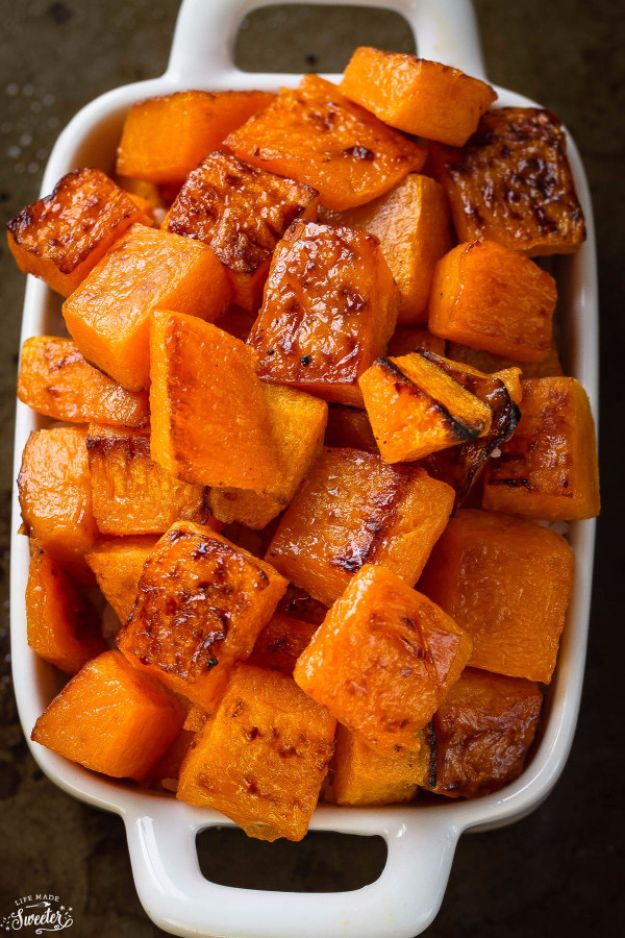Best Easter Dinner Recipes - Maple Cinnamon Roasted Butternut Squash - Easy Recipe Ideas for Easter Dinners and Holiday Meals for Families - Side Dishes, Slow Cooker Recipe Tutorials, Main Courses, Traditional Meat, Vegetable and Dessert Ideas - Desserts, Pies, Cakes, Ham and Beef, Lamb - DIY Projects and Crafts by DIY JOY
