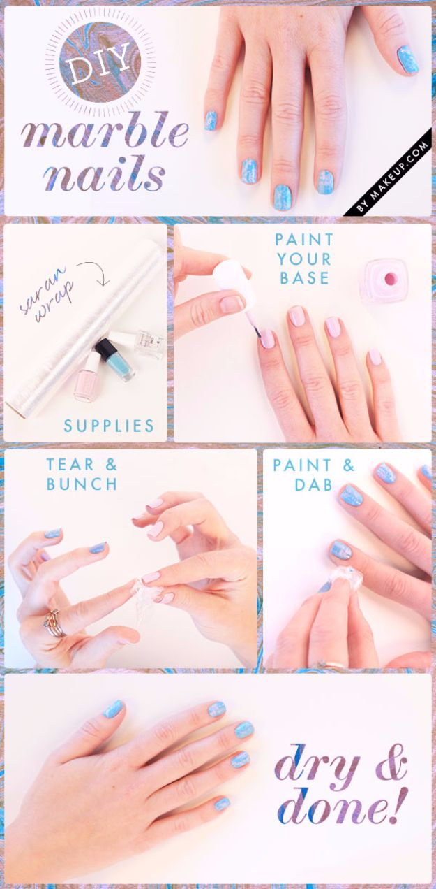 Quick Nail Art Ideas - Marble Nails - Easy Step by Step Nail Designs With Tutorials and Instructions - Simple Photos Show You How To Get A Perfect Manicure at Home - Cool Beauty Tips and Tricks for Women and Teens