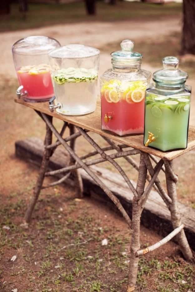 DIY Outdoors Wedding Ideas - Mason Jar Juice Containers - Step by Step Tutorials and Projects Ideas for Summer Brides - Lighting, Mason Jar Centerpieces, Table Decor, Party Favors, Guestbook Ideas, Signs, Flowers, Banners, Tablecloth and Runners, Napkins, Seating and Lights - Cheap and Ideas DIY Decor for Weddings http://diyjoy.com/diy-outdoor-wedding