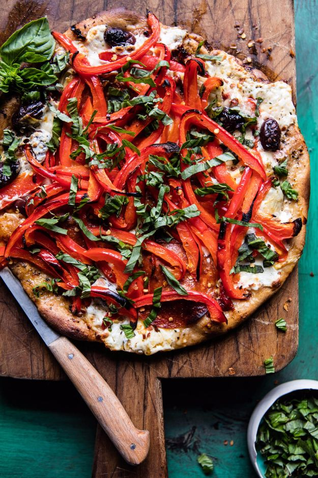 Best Pizza Recipes - Mediterranean Roasted Red Pepper Pizza - Homemade Pizza Recipe Ideas for Healthy, Easy Dinner, Lunch and Snacks - How To Make Pizza Dough at Home - Step by Step Tutorials for Varieties with Pepperoni, Gourmet and Unique Tips With Pillsbury Biscuits, for Kids, With Chicken and French Bread - Thin Crust and Deep Dish Pizzas http://diyjoy.com/best-pizza-recipes