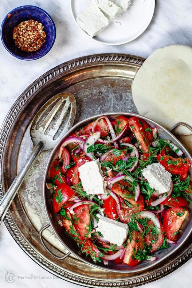 Best Dinner Salad Recipes - Mediterranean Tomato Salad - Easy Salads to Make for Quick and Healthy Dinners - Healthy Chicken, Egg, Vegetarian, Steak and Shrimp Salad Ideas - Summer Side Dishes, Hearty Filling Meals, and Low Carb Options #saladrecipes #dinnerideas #salads #healthyrecipes