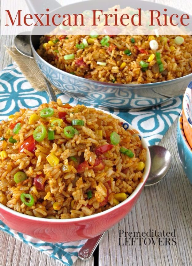 Best Rice Recipes - Mexican Fried Rice - Easy Ideas for Quick Meals Made From a Bag of Rice - Healthy Recipes With Brown, White and Arborio Rice - Cheesy, Fried, Asian, Mexican Flavored Dinner Dishes and Side Dishes - DIY Projects and Crafts by DIY JOY