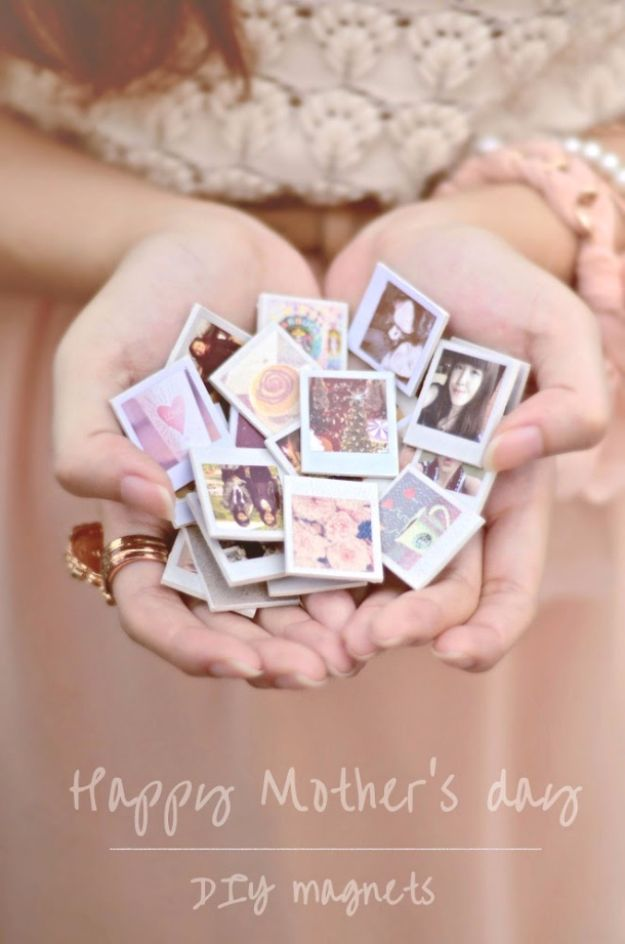 DIY Mothers Day Gift Ideas - Mini Polaroid Photo Magnets - Homemade Gifts for Moms - Crafts and Do It Yourself Home Decor, Accessories and Fashion To Make For Mom - Mothers Love Handmade Presents on Mother's Day - DIY Projects and Crafts by DIY JOY