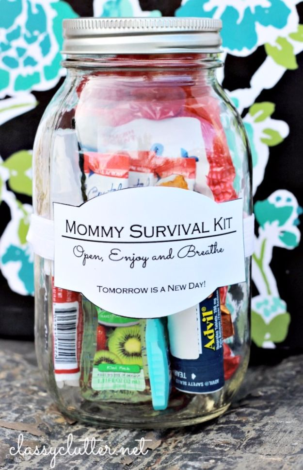 DIY Mothers Day Gift Ideas - Mommy Survival Kit - Homemade Gifts for Moms - Crafts and Do It Yourself Home Decor, Accessories and Fashion To Make For Mom - Mothers Love Handmade Presents on Mother's Day - DIY Projects and Crafts by DIY JOY http://diyjoy.com/diy-mothers-day-gifts