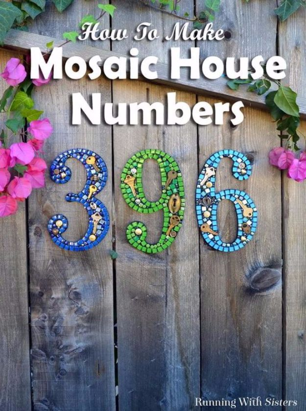 DIY House Numbers - Mosaic House Numbers - DIY Numbers To Put In Front Yard and At Front Door - Architectural Numbers and Creative Do It Yourself Projects for Making House Numbers - Easy Step by Step Tutorials and Project Ideas for Home Improvement on A Budget #homeimprovement #diyhomedecor