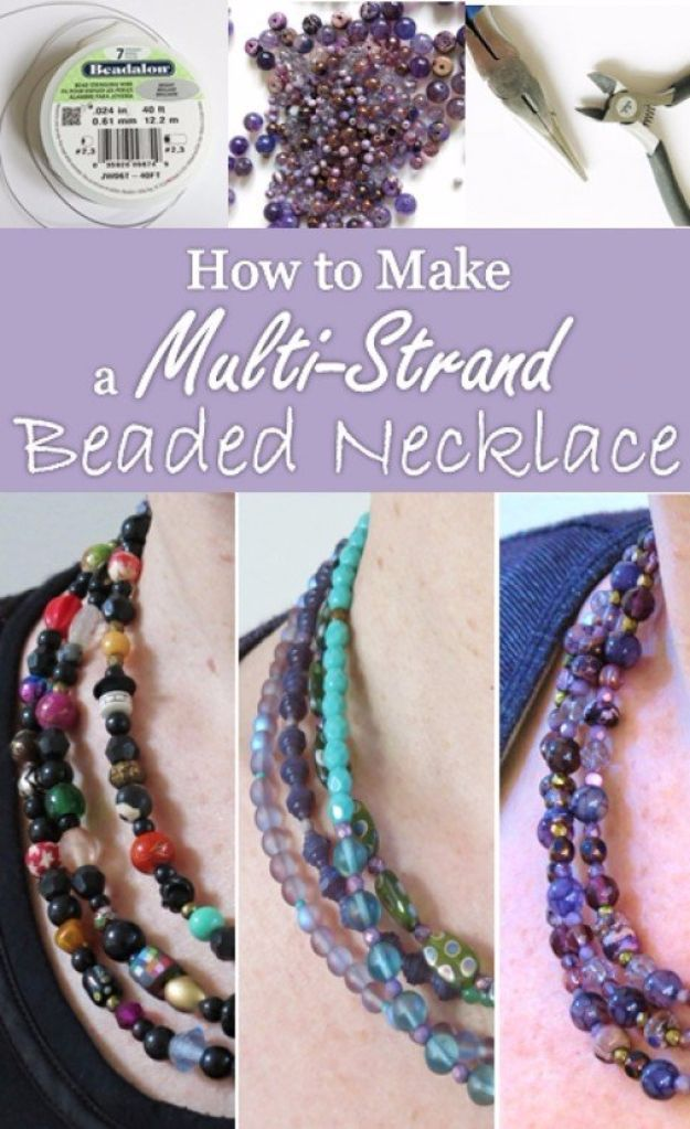 DIY Necklace Ideas - Multi Strand Beaded Necklace - Easy Handmade Necklaces with Step by Step Tutorials - Pendant, Beads, Statement, Choker, Layered Boho, Chain and Simple Looks - Creative Jewlery Making Ideas for Women and Teens, Girls - Crafts and Cool Fashion Ideas for Women, Teens and Teenagers #necklaces #diyjewelry #jewelrymaking #teencrafts