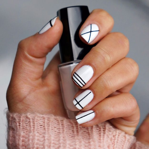 Quick Nail Art Ideas - Nail Art Tape - Easy Step by Step Nail Designs With - 37 Quick But Awesome 5 Minute Nail Art Ideas