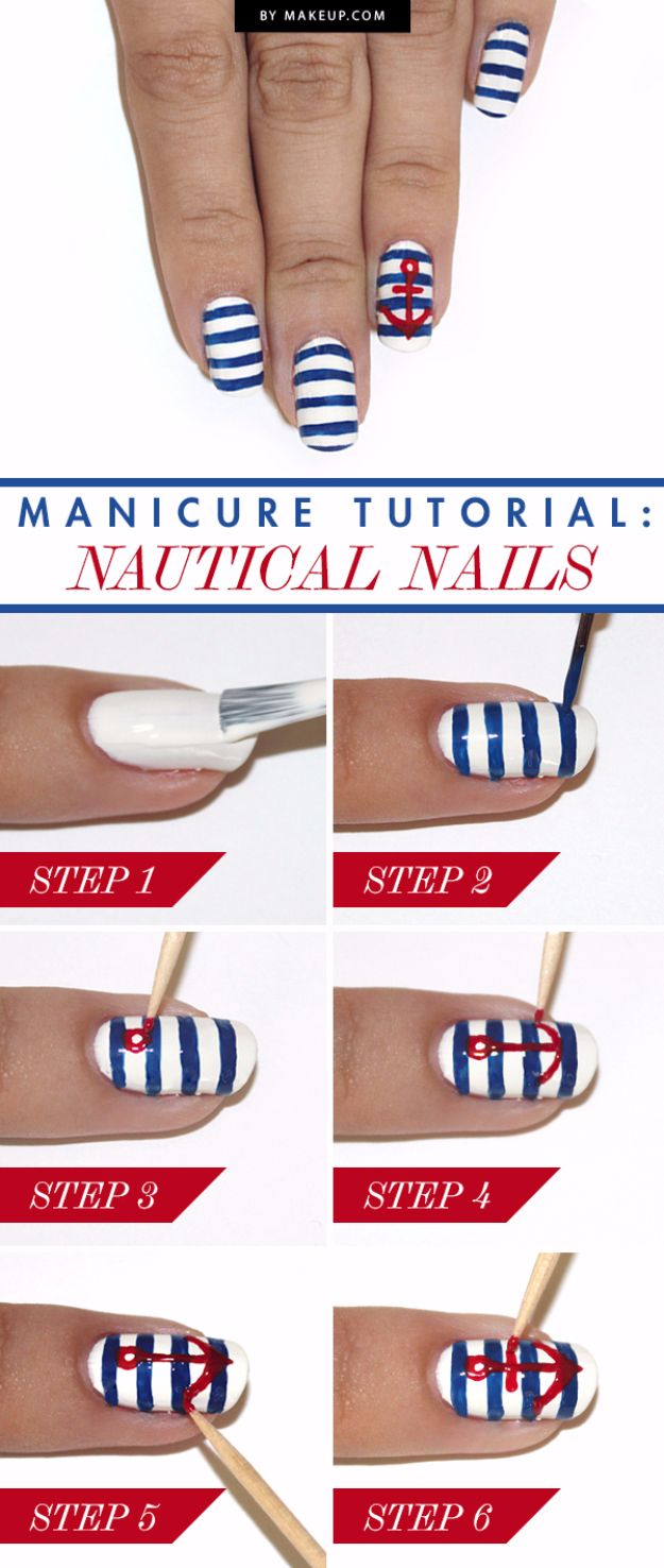 Quick Nail Art Ideas - Nautical Manicure - Easy Step by Step Nail Designs With Tutorials and Instructions - Simple Photos Show You How To Get A Perfect Manicure at Home - Cool Beauty Tips and Tricks for Women and Teens