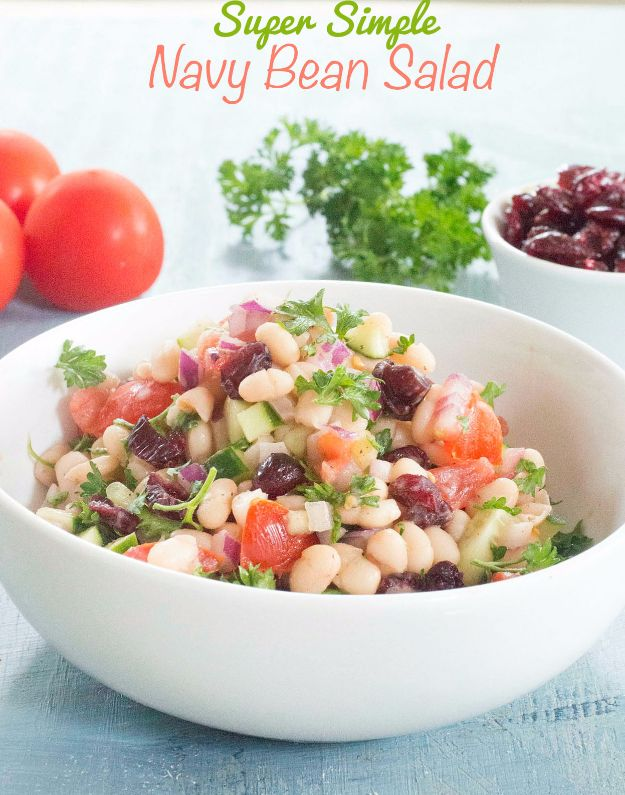 Best Dinner Salad Recipes - Navy Beans Salad - Easy Salads to Make for Quick and Healthy Dinners - Healthy Chicken, Egg, Vegetarian, Steak and Shrimp Salad Ideas - Summer Side Dishes, Hearty Filling Meals, and Low Carb Options #saladrecipes #dinnerideas #salads #healthyrecipes