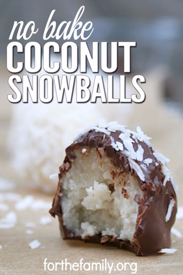 Easy Snacks You Can Make In Minutes - No Bake Coconut Snowballs - Quick Recipes and Tricks for Making After Workout and After School Snack - Fast Ideas for Instant Small Meals and Treats - No Bake, Microwave and Simple Prep Makes Snacking Fun http://diyjoy.com/easy-snacks- recipes