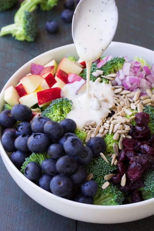 Best Broccoli Recipes - No Mayo Broccoli Salad With Blueberries And Apples - Recipe Ideas for Roasted, Steamed, Fresh or Frozen, Healthy, Cheesy, Soup, Salad, Casseroles and Side Dish Vegetables Made With Broccoli. Shrimp, Chicken, Pasta and Paleo Recipes. Easy Dinner, healthy vegetable recipes
