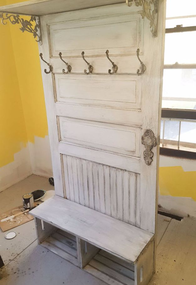 DIY Home Improvement On A Budget - Old Door Upcycle - Easy and Cheap Do It Yourself Tutorials for Updating and Renovating Your House - Home Decor Tips and Tricks, Remodeling and Decorating Hacks - DIY Projects and Crafts by DIY JOY http://diyjoy.com/diy-home-improvement-ideas-budget