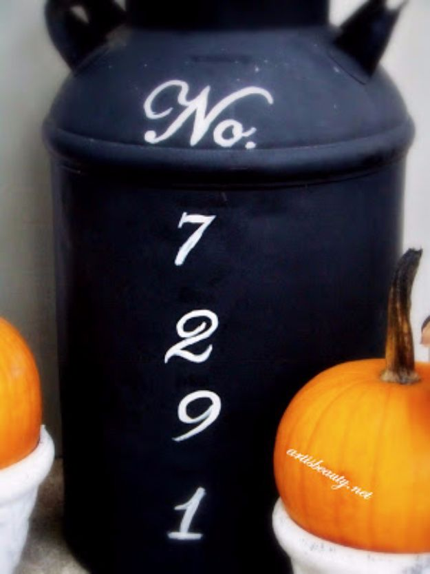 DIY House Numbers - Old Milk Can Turned Address Marker - DIY Numbers To Put In Front Yard and At Front Door - Architectural Numbers and Creative Do It Yourself Projects for Making House Numbers - Easy Step by Step Tutorials and Project Ideas for Home Improvement on A Budget #homeimprovement #diyhomedecor