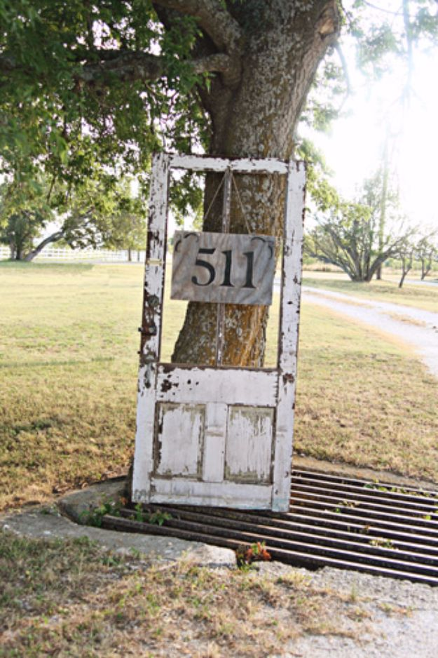 DIY House Numbers - Old Wooden Door House Number Sign - DIY Numbers To Put In Front Yard and At Front Door - Architectural Numbers and Creative Do It Yourself Projects for Making House Numbers - Easy Step by Step Tutorials and Project Ideas for Home Improvement on A Budget #homeimprovement #diyhomedecor
