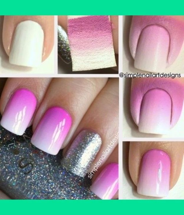 Quick Nail Art Ideas - Ombre Nail Art - Easy Step by Step Nail Designs With Tutorials and Instructions - Simple Photos Show You How To Get A Perfect Manicure at Home - Cool Beauty Tips and Tricks for Women and Teens