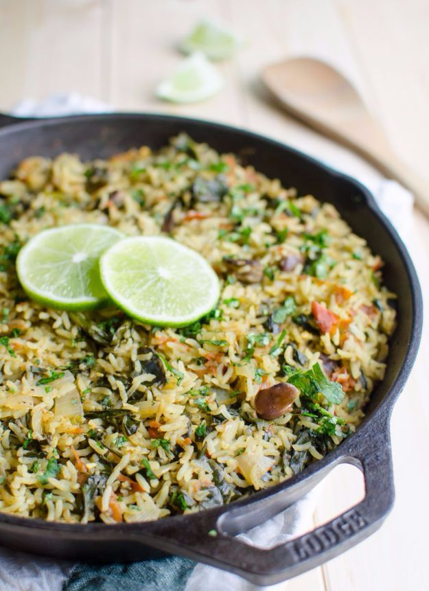 Best Rice Recipes - One Pot Spinach Rice - Easy Ideas for Quick Meals Made From a Bag of Rice - Healthy Recipes With Brown, White and Arborio Rice - Cheesy, Fried, Asian, Mexican Flavored Dinner Dishes and Side Dishes - DIY Projects and Crafts by DIY JOY