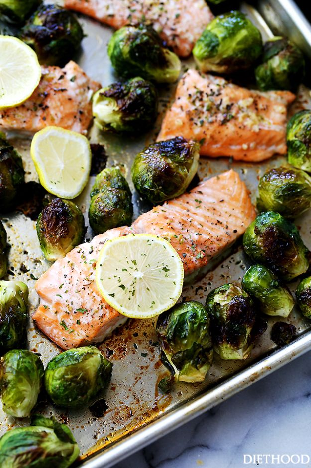 Best Brussel Sprout Recipes - One Sheet Pan Garlic Roasted Salmon With Brussels Sprouts - Easy and Quick Delicious Ideas for Making Brussel Sprouts With Bacon, Roasted, Creamy, Healthy, Baked, Sauteed, Crockpot, Grilled, Shredded and Salad Recipe Ideas - Cool Lunches, Dinner, Snack, Side and DIY Dinner Vegetable Dishes http://diyjoy.com/best-brussel-sprout-recipes
