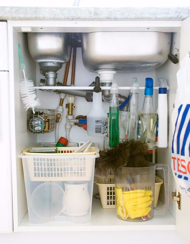 Creative DIY Ideas With Tension Rods - Organize Cleaning Supplies Under The Sink - Quick Do It Yourself Projects, Easy Ways To Save Money, Hacks You Can Do With A Tension Rod - Window Treatments, Small Spaces, Apartments, Storage