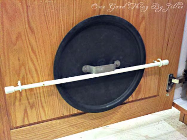 Cool DIY Ideas With Tension Rods - Organize Lids Of Pots And Pans - Quick Do It Yourself Projects, Easy Ways To Save Money, Hacks You Can Do With A Tension Rod - Window Treatments, Small Spaces, Apartments, Storage