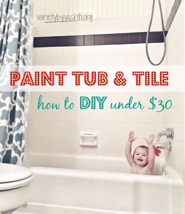 DIY Home Improvement On A Budget - Paint Tub & Tile - Easy and Cheap Do It Yourself Tutorials for Updating and Renovating Your House - Home Decor Tips and Tricks, Remodeling and Decorating Hacks - DIY Projects and Crafts by DIY JOY http://diyjoy.com/diy-home-improvement-ideas-budget