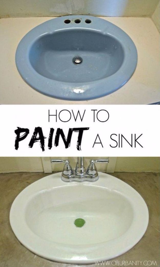DIY Home Improvement On A Budget - Paint Your Old Sink - Easy and Cheap Do It Yourself Tutorials for Updating and Renovating Your House - Home Decor Tips and Tricks, Remodeling and Decorating Hacks - DIY Projects and Crafts by DIY JOY #diy