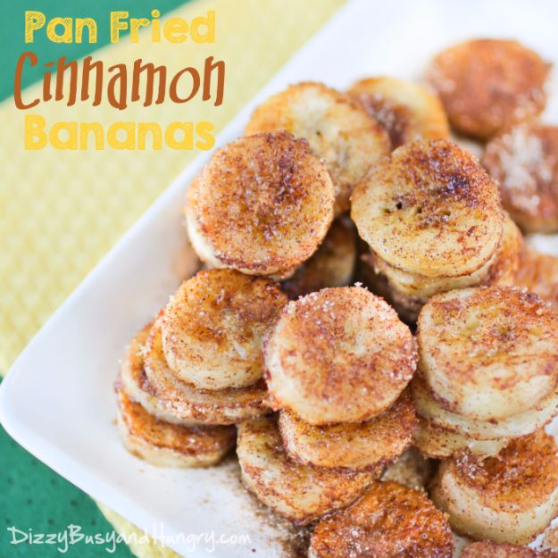Easy Snacks You Can Make In Minutes - Pan Fried Cinnamon Bananas - Quick Recipes and Tricks for Making After Workout and After School Snack - Fast Ideas for Instant Small Meals and Treats - No Bake, Microwave and Simple Prep Makes Snacking Fun #snacks #recipes