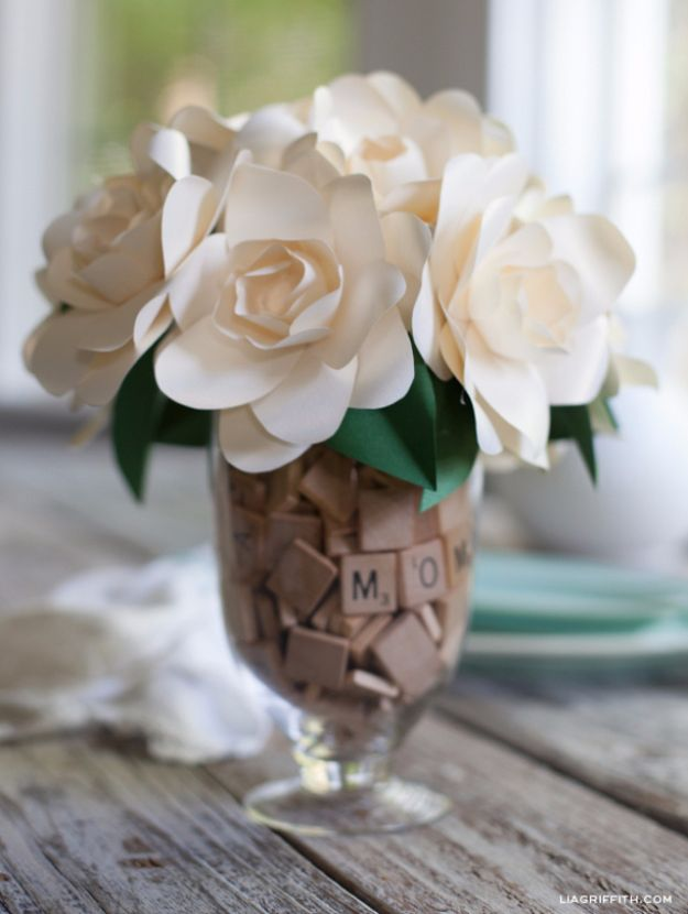DIY Mothers Day Gift Ideas - Paper Crafted Gardenia - Homemade Gifts for Moms - Crafts and Do It Yourself Home Decor, Accessories and Fashion To Make For Mom - Mothers Love Handmade Presents on Mother's Day - DIY Projects and Crafts by DIY JOY http://diyjoy.com/diy-mothers-day-gifts