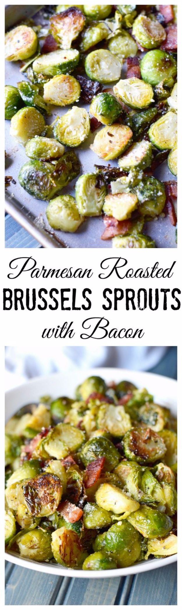 Best Brussel Sprout Recipes - Parmesan Roasted Brussels Sprouts With Bacon - Easy and Quick Delicious Ideas for Making Brussel Sprouts With Bacon, Roasted, Creamy, Healthy, Baked, Sauteed, Crockpot, Grilled, Shredded and Salad Recipe Ideas #recipes