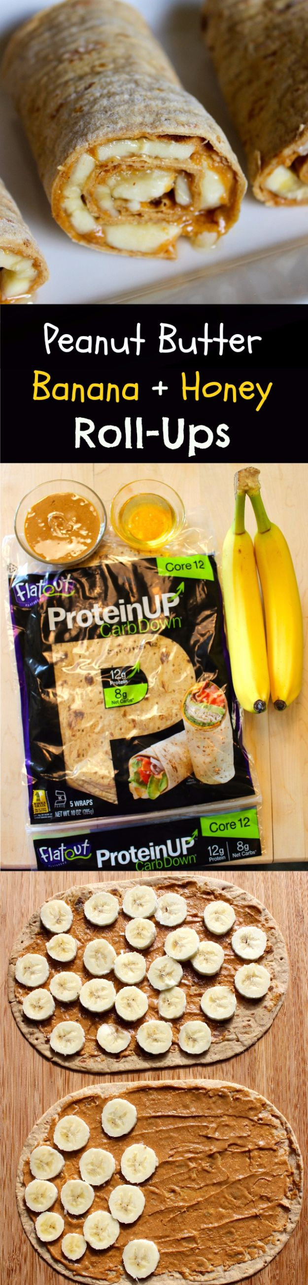 Easy Snacks You Can Make In Minutes - Peanut Butter Banana + Honey Roll Ups - Quick Recipes and Tricks for Making After Workout and After School Snack - Fast Ideas for Instant Small Meals and Treats - No Bake, Microwave and Simple Prep Makes Snacking Fun #snacks #recipes