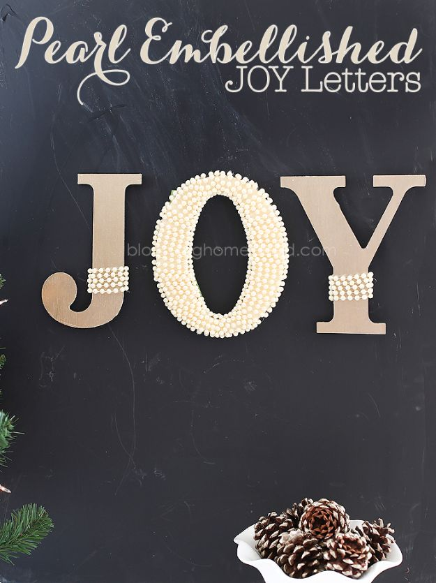 DIY Wall Letters and Word Signs - Pearl Embellished JOY Letters - Initials Wall Art for Creative Home Decor Ideas - Cool Architectural Letter Projects and Wall Art Tutorials for Living Room Decor, Bedroom Ideas. Girl or Boy Nursery. Paint, Glitter, String Art, Easy Cardboard and Rustic Wooden Ideas - DIY Projects and Crafts by DIY JOY #diysigns #diyideas #diyhomedecor