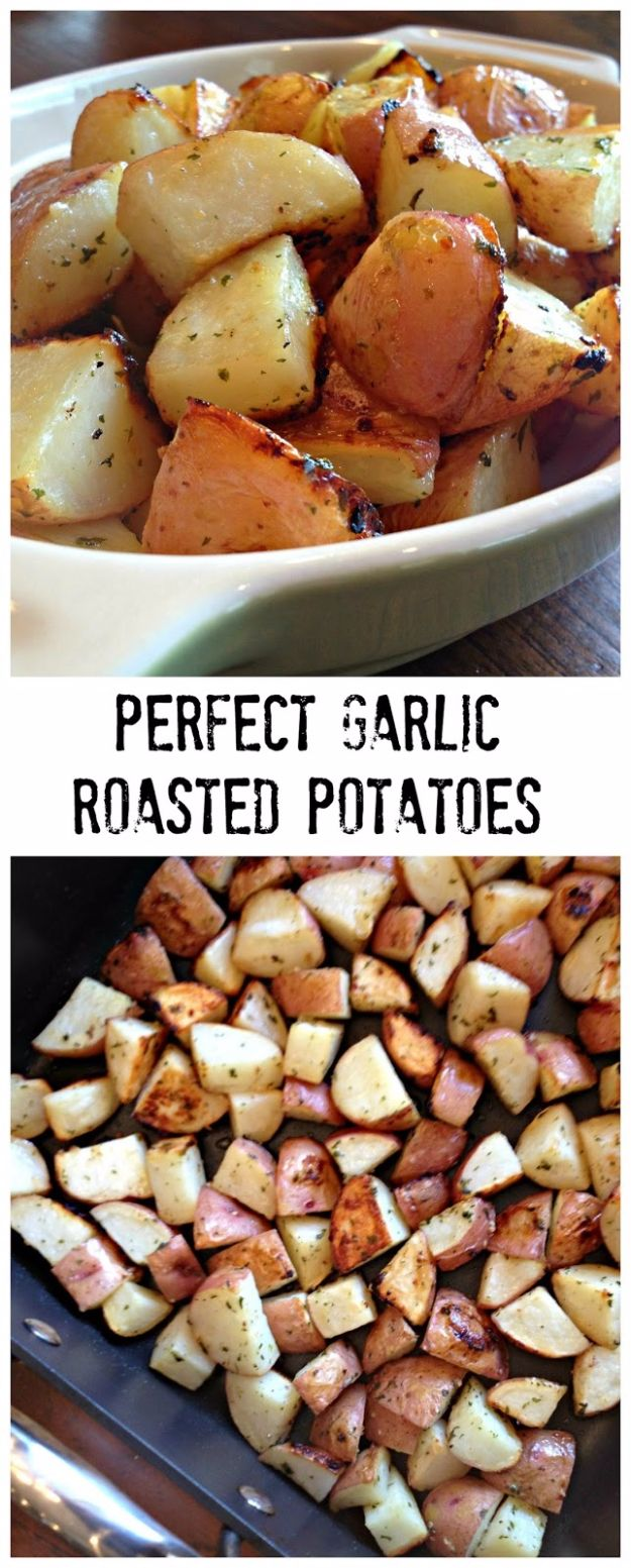 Best Easter Dinner Recipes - Perfect Garlic Roasted Potatoes - Easy Recipe Ideas for Easter Dinners and Holiday Meals for Families - Side Dishes, Slow Cooker Recipe Tutorials, Main Courses, Traditional Meat, Vegetable and Dessert Ideas - Desserts, Pies, Cakes, Ham and Beef, Lamb - DIY Projects and Crafts by DIY JOY