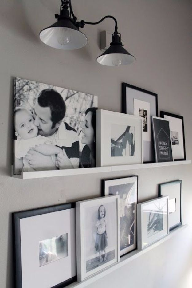 Tips and Tricks for Hanging Photos and Frames - Photo Ledges - Step By Step Tutorials and Easy DIY Home Decor Projects for Decorating Walls - Cool Wall Art Ideas for Bedroom, Living Room, Gallery Walls - Creative and Cheap Ideas for Displaying Photos and Prints - DIY Projects and Crafts by DIY JOY #diydecor #decoratingideas