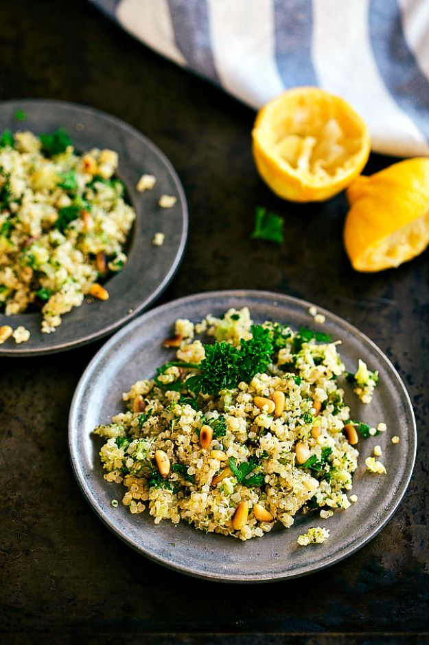 Best Broccoli Recipes - Pine Nut Broccoli Quinoa - Recipe Ideas for Roasted, Steamed, Fresh or Frozen, Healthy, Cheesy, Soup, Salad, Casseroles and Side Dish Vegetables Made With Broccoli. Shrimp, Chicken, Pasta and Paleo Recipes. Easy Dinner, healthy vegetable recipes