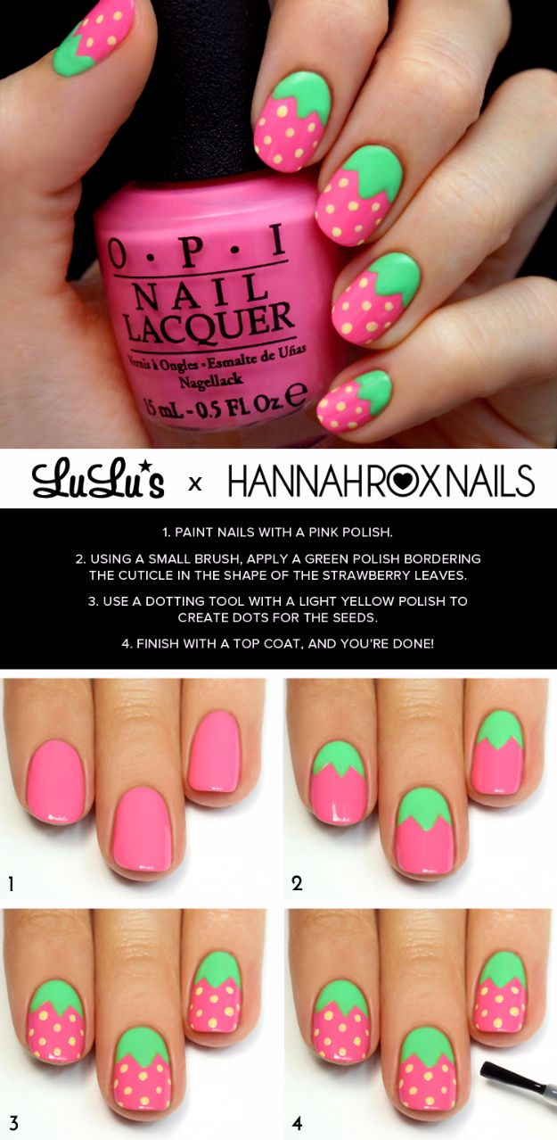 Quick Nail Art Ideas - Pink Strawberry Nail Art - Easy Step by Step Nail Designs With Tutorials and Instructions - Simple Photos Show You How To Get A Perfect Manicure at Home - Cool Beauty Tips and Tricks for Women and Teens