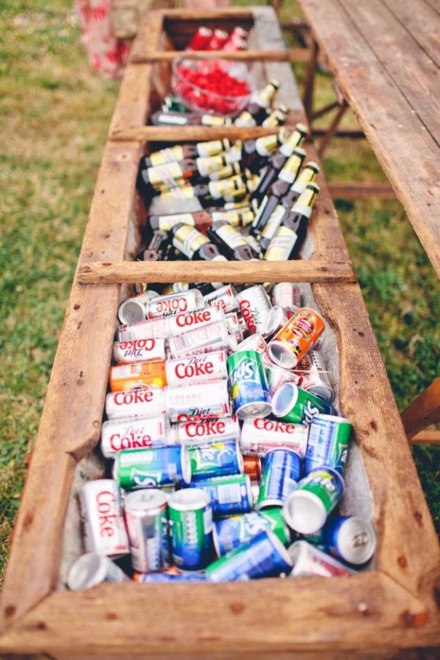 DIY Outdoors Wedding Ideas - Planter Box As A Cooler For Your Drinks - Step by Step Tutorials and Projects Ideas for Summer Brides - Lighting, Mason Jar Centerpieces, Table Decor, Party Favors, Guestbook Ideas, Signs, Flowers, Banners, Tablecloth #wedding #diy