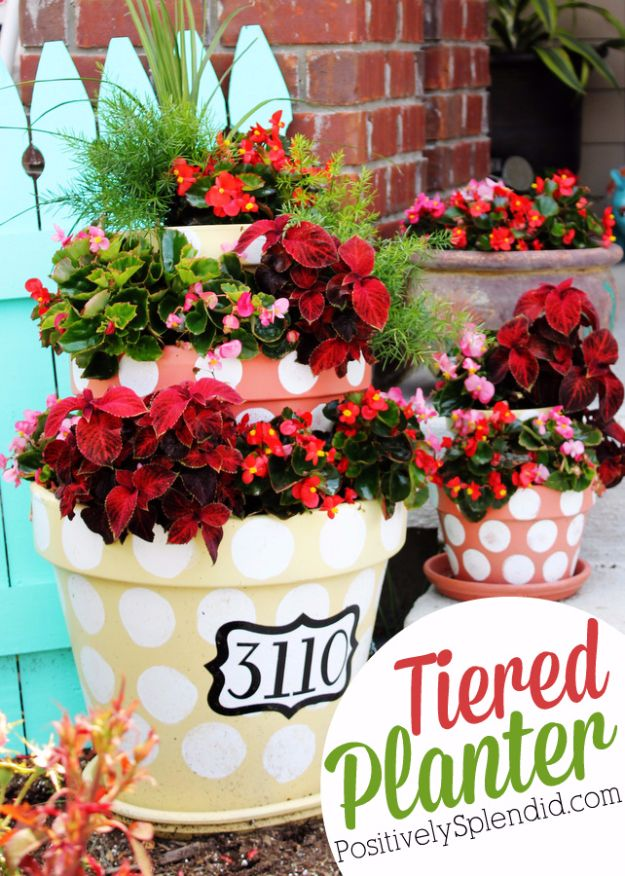 DIY House Numbers - Polka Dotted Tiered Planters House Number - DIY Numbers To Put In Front Yard and At Front Door - Architectural Numbers and Creative Do It Yourself Projects for Making House Numbers - Easy Step by Step Tutorials and Project Ideas for Home Improvement on A Budget #homeimprovement #diyhomedecor