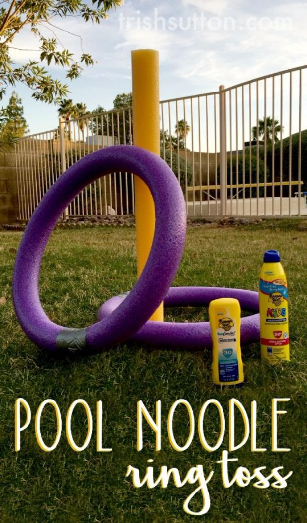 Best DIY Backyard Games - Pool Noodle Ring Toss - Cool DIY Yard Game Ideas for Adults, Teens and Kids - Easy Tutorials for Cornhole, Washers, Jenga, Tic Tac Toe and Horseshoes - Cool Projects for Outdoor Parties and Summer Family Fun Outside #diy #backyard #kids #games