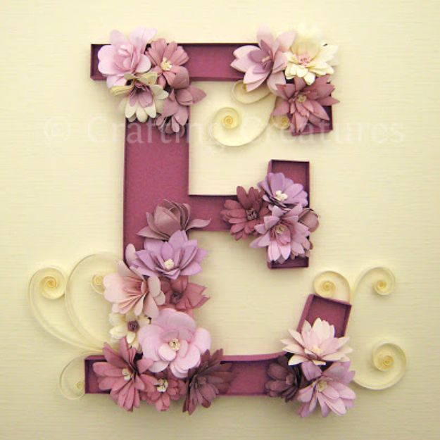 DIY Wall Letters and Word Signs - Quilled E Monogram with Fringed Flowers - Initials Wall Art for Creative Home Decor Ideas - Cool Architectural Letter Projects and Wall Art Tutorials for Living Room Decor, Bedroom Ideas. Girl or Boy Nursery. Paint, Glitter, String Art, Easy Cardboard and Rustic Wooden Ideas - DIY Projects and Crafts by DIY JOY #diysigns #diyideas #diyhomedecor