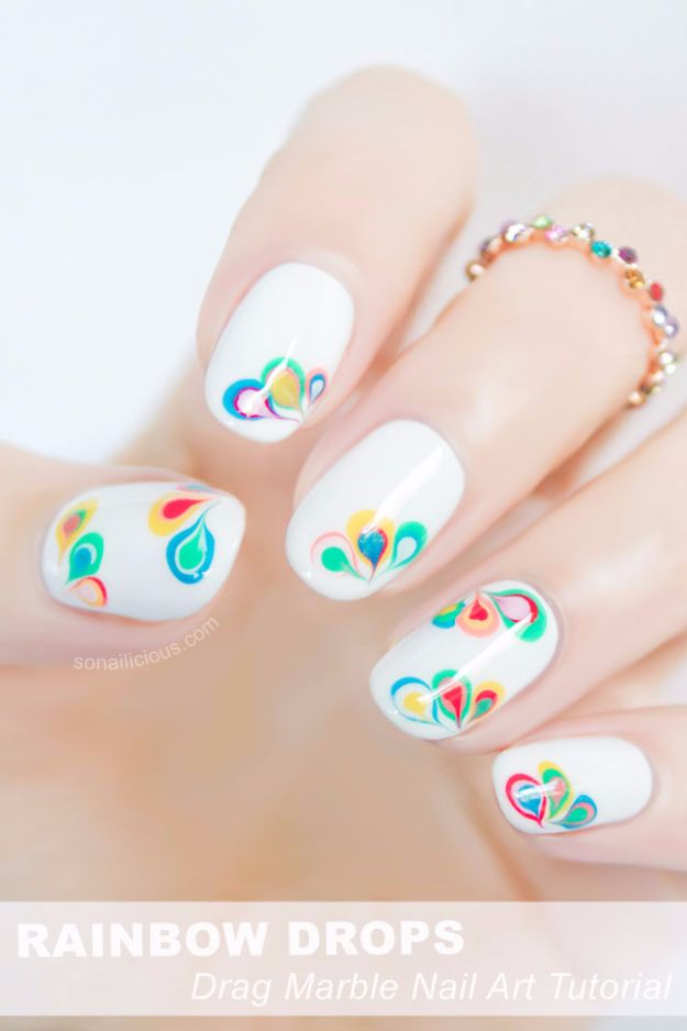 Quick Nail Art Ideas - Rainbow Drops Drag Marble Nail Art - Easy Step by Step Nail Designs With Tutorials and Instructions - Simple Photos Show You How To Get A Perfect Manicure at Home - Cool Beauty Tips and Tricks for Women and Teens