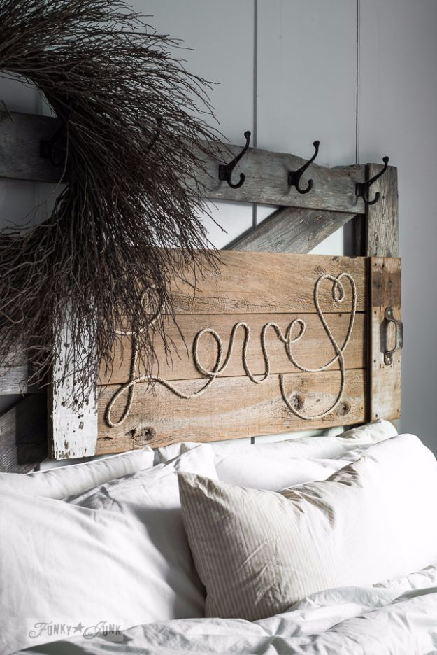 DIY Wall Letters and Word Signs - Reclaimed Wood Love Rope Sign - Initials Wall Art for Creative Home Decor Ideas - Cool Architectural Letter Projects and Wall Art Tutorials for Living Room Decor, Bedroom Ideas. Girl or Boy Nursery. Paint, Glitter, String Art, Easy Cardboard and Rustic Wooden Ideas - DIY Projects and Crafts by DIY JOY #diysigns #diyideas #diyhomedecor