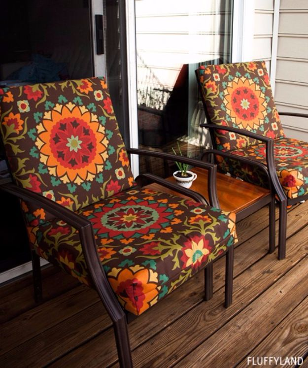Sewing Projects for The Patio - Recovered Patio Chair Cushions - Step by Step Instructions and Free Patterns for Cushions, Pillows, Seating, Sofa and Outdoor Patio Decor - Easy Sewing Tutorials for Beginners - Creative and Cheap Outdoor Ideas for Those Who Love to Sew - DIY Projects and Crafts by DIY JOY #diydecor #diyhomedecor #sewing
