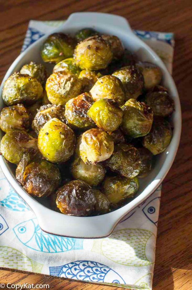 Best Brussel Sprout Recipes - Red Lobster Fresh Roasted Brussels Sprouts - Easy and Quick Delicious Ideas for Making Brussel Sprouts With Bacon, Roasted, Creamy, Healthy, Baked, Sauteed, Crockpot, Grilled, Shredded and Salad Recipe Ideas #recipes