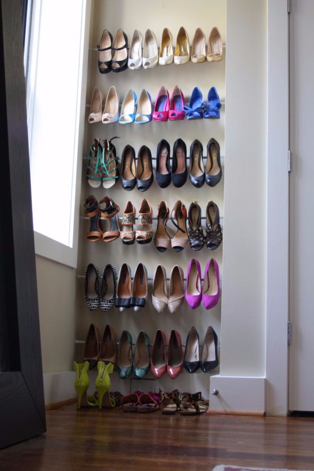 Cool DIY Ideas With Tension Rods - Resolve Your Shoe Problem - Quick Do It Yourself Projects, Easy Ways To Save Money, Hacks You Can Do With A Tension Rod - Window Treatments, Small Spaces, Apartments, Storage